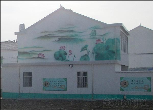 墙画的内容有突出夏岗村田园风光,美好乡村建设方面的,有风景画,山河